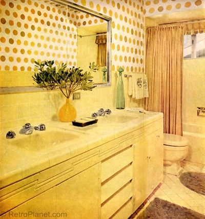 1960s decorating style bright yellow bathroom designs for Bright yellow bathroom ideas