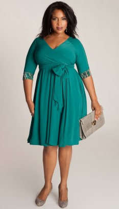Plus size clothing is showing bold greens this year. Dont hide behind black, go bold! Color can be just as flattering and slenderizing.  Repin Now!