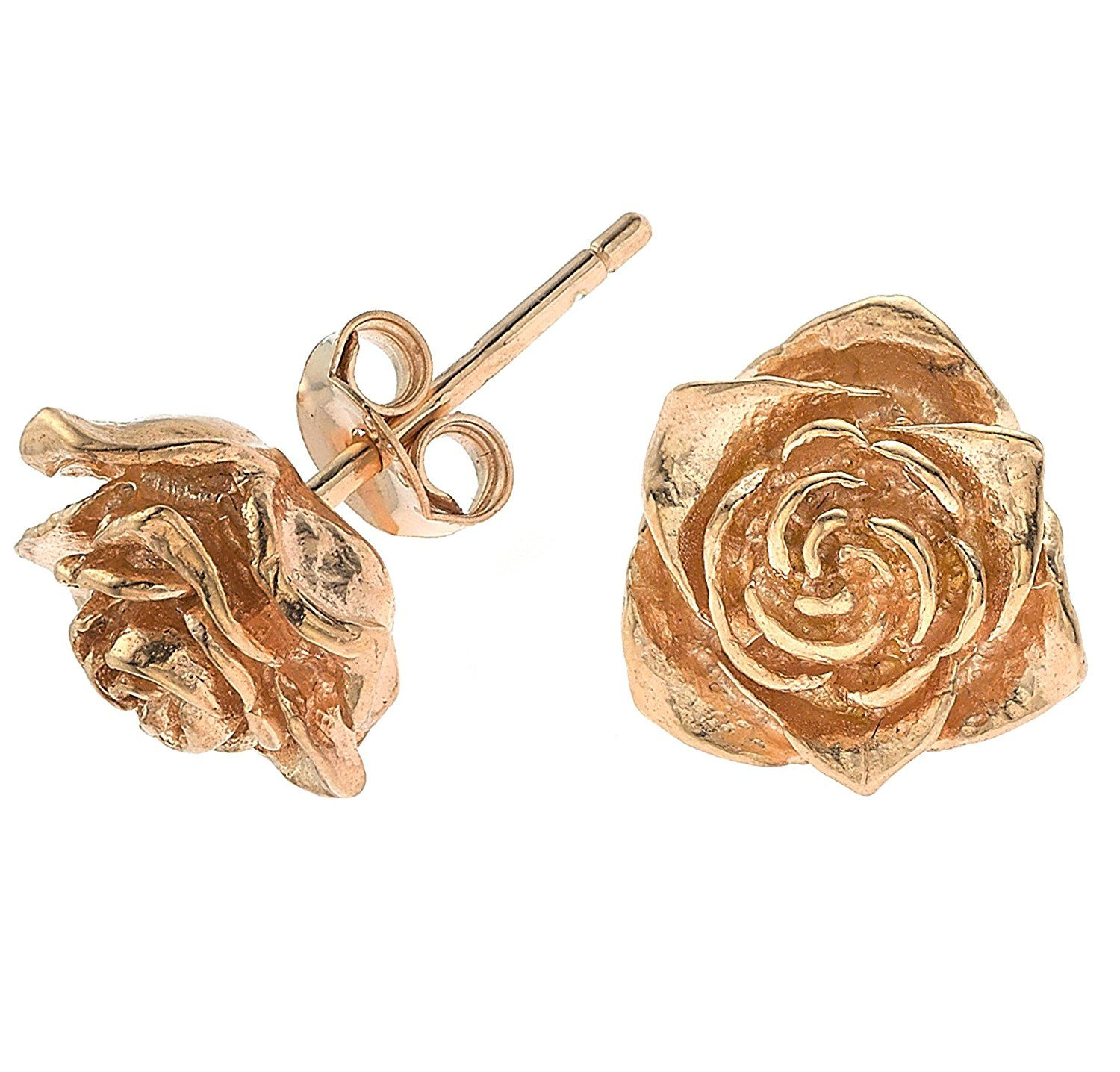 Dower & Hall, White Rose - Solid Carved Rose Stud Earrings
