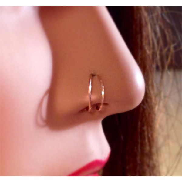 Squared Double Loop Nose Ring In Gold Rose Gold Or Sterling