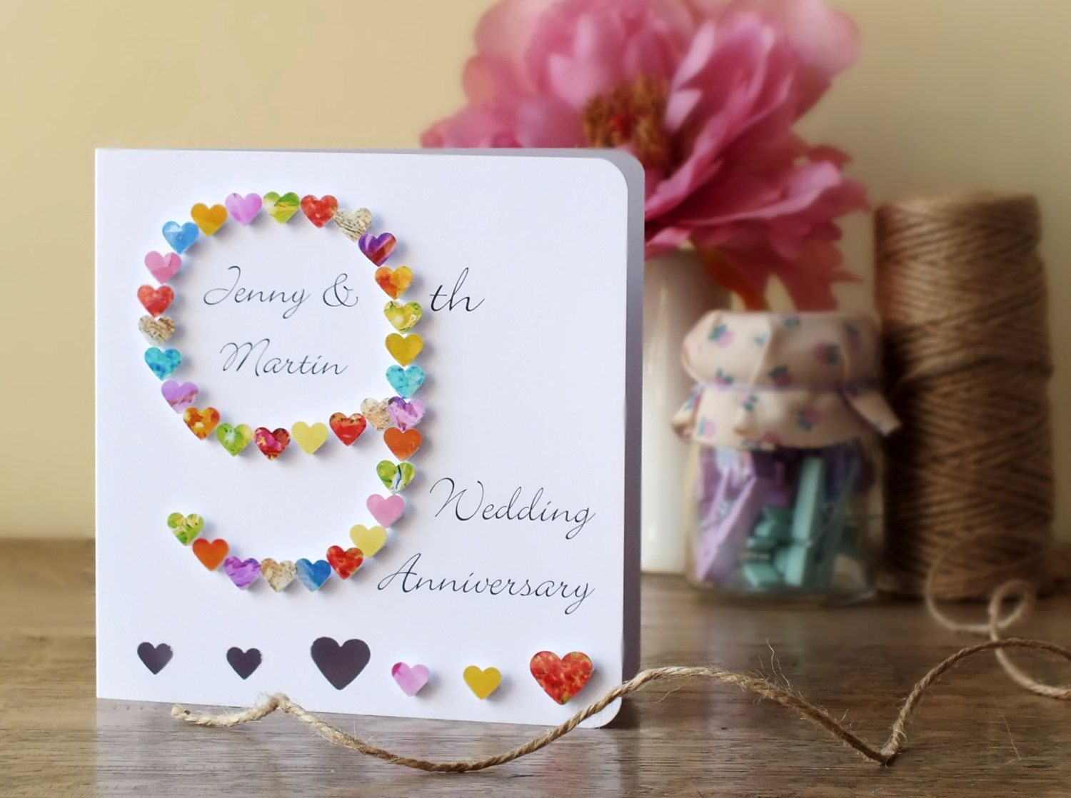 9th Wedding Anniversary Card, Handmade and Personalised
