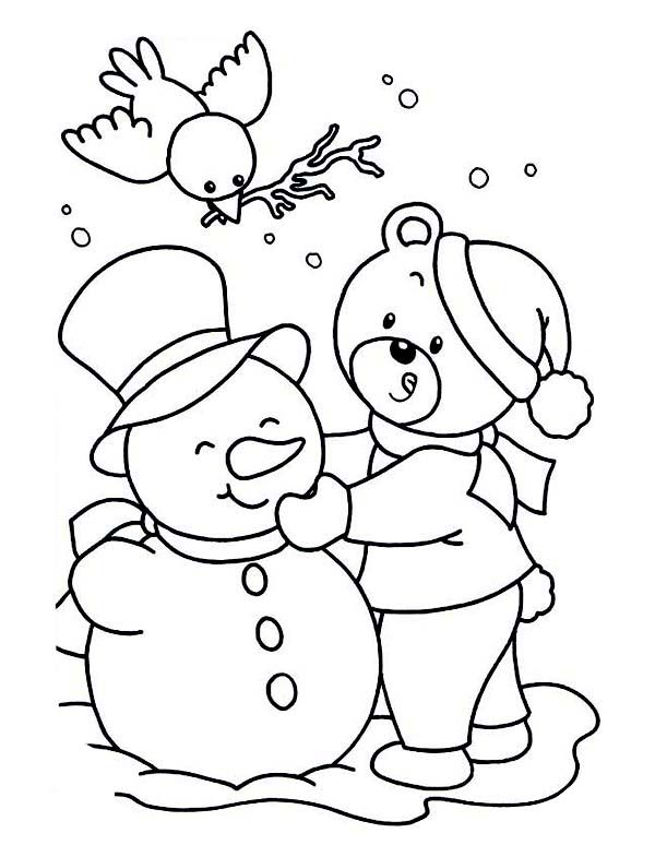 A Cute Little Bear Making Snowman On Winter Coloring Page : Kids