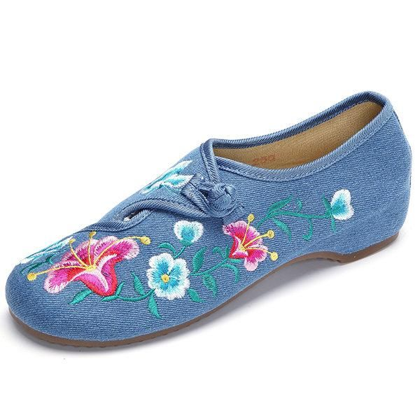 Flower Chinese Knot Retro Embroided Pattern Flat Loafers