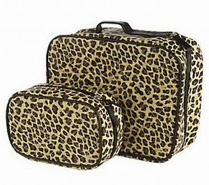 Set Of 2 Quilted Cosmetic Cases By Lori Greiner Leopard