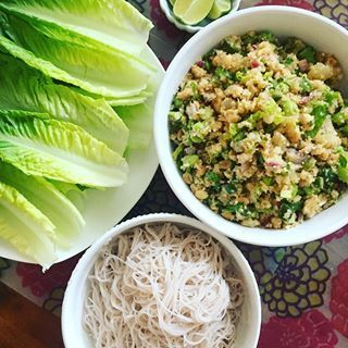 Peanut lime riced cauliflower salad with edamame! Dressing really makes it: lime juice, soy sauce, chili sauce, ginger and garlic. Made into wraps with romaine leaves and brown rice vermicelli noodles. Made based off of @budgetbytes recipe!  .  .  #domesticatedeats