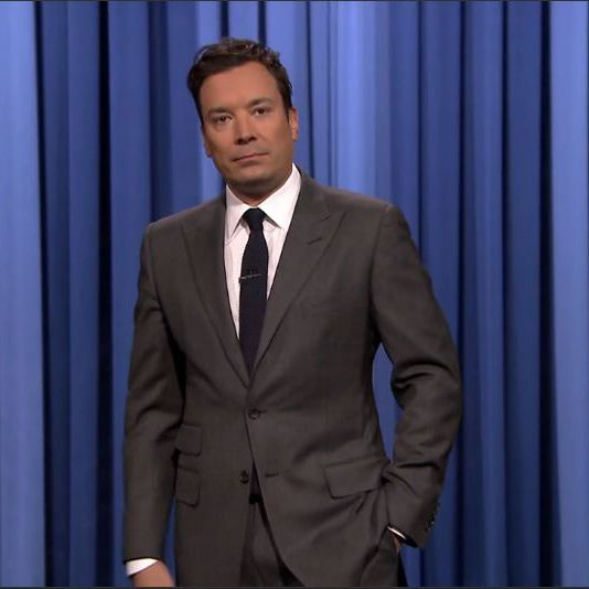 Jimmy Fallon-Grey suit-White shirt-Navy blue tie-Tonight show-E227 ...