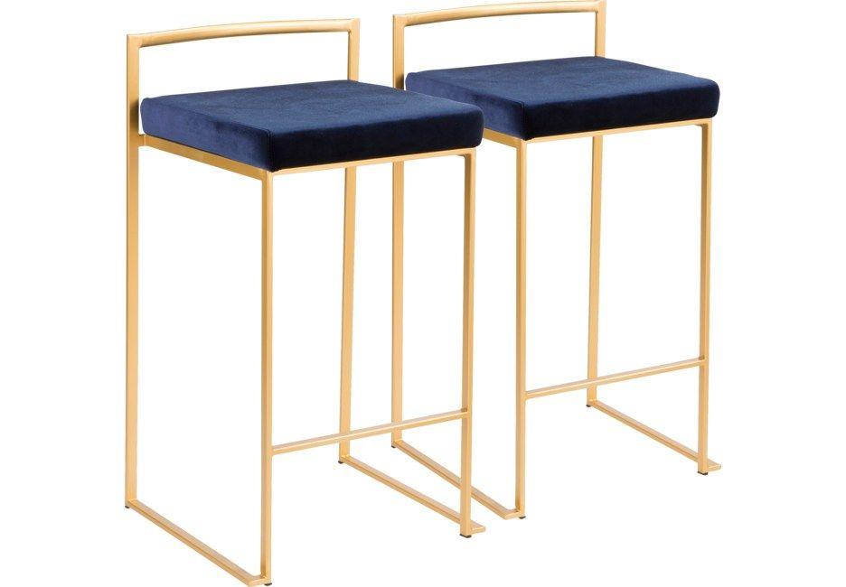 Sora Blue Gold Counter Height Stool Set Of 2 Nbsp 259 00