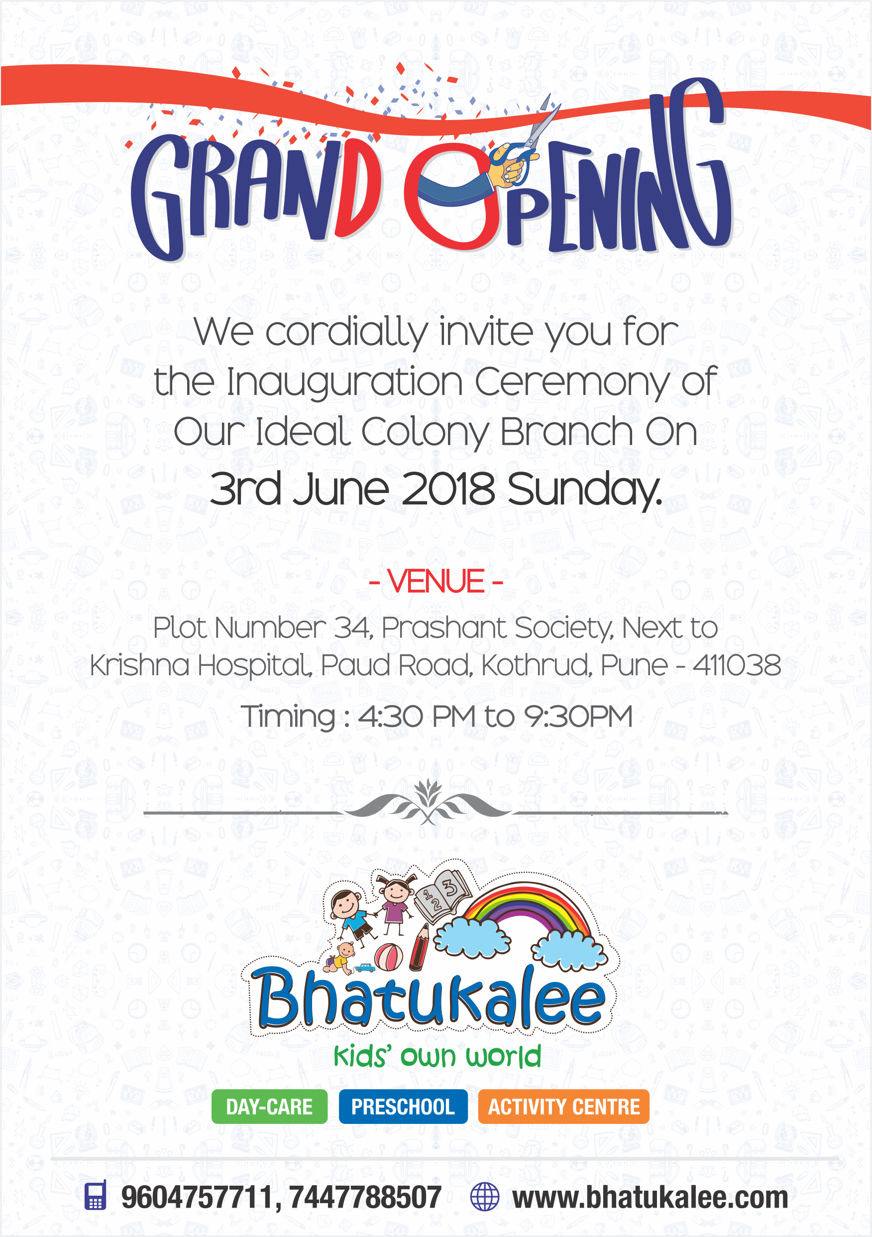 Grand Opening We Cordially Invite You For The Inauguration Ceremony Of Our Ideal Colony Branch O Preschool Activity Inauguration Ceremony Preschool Activities [ 2484 x 1752 Pixel ]