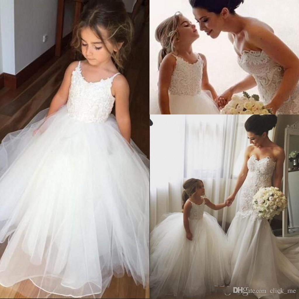 Cheap ivory flower girl dresses for wedding children spaghetti strap