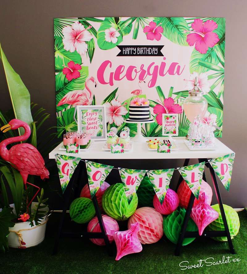 Check out the gorgeous dessert table at this Tropical Flamingo Birthday Party! See more party ideas and share yours at CatchMyParty.com