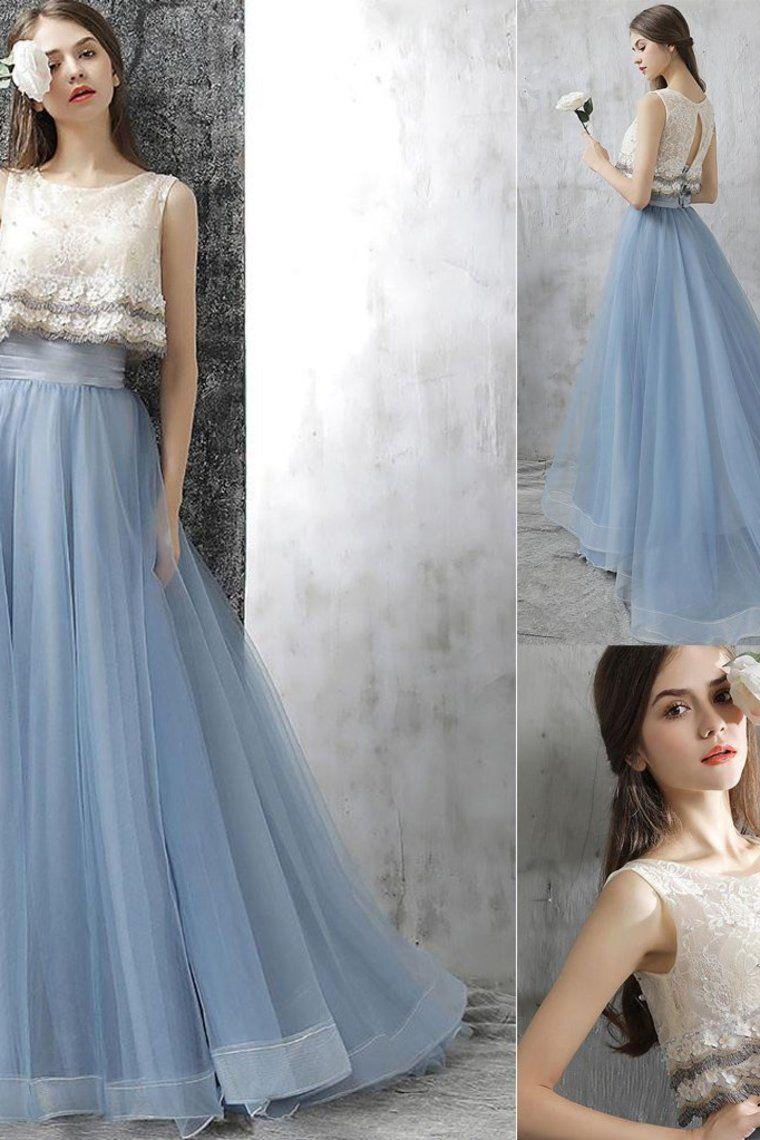 Elegante lange 15 Stücke Spitze Sky Blue Prom Kleider Prom Dresses