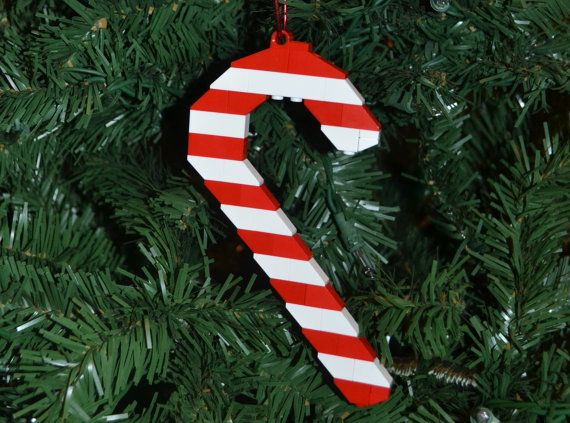 LEGO Red and White Candy Cane Christmas Ornament with Instructions – Build Your Own