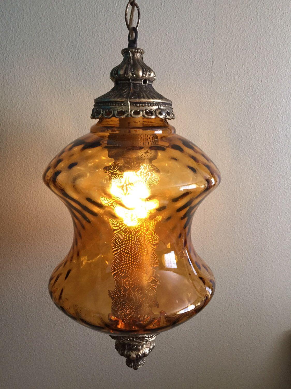 Delightful Vintage Amber Glass Swag Light, Light Fixture, Mid Century Swag Lamp,  Pendant Lamp