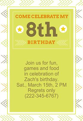 8th Birthday Printable Invitation Customize Add Text And Photos Print For Free