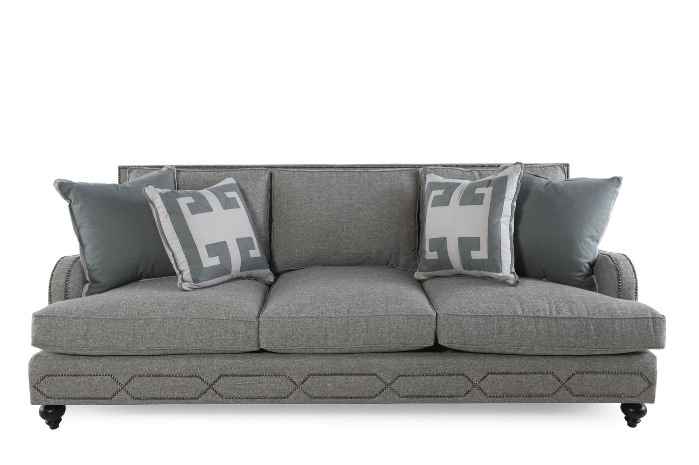 Awesome Nailhead Accented 95 Sofa In Dove Gray Home Decor Sofa Gmtry Best Dining Table And Chair Ideas Images Gmtryco