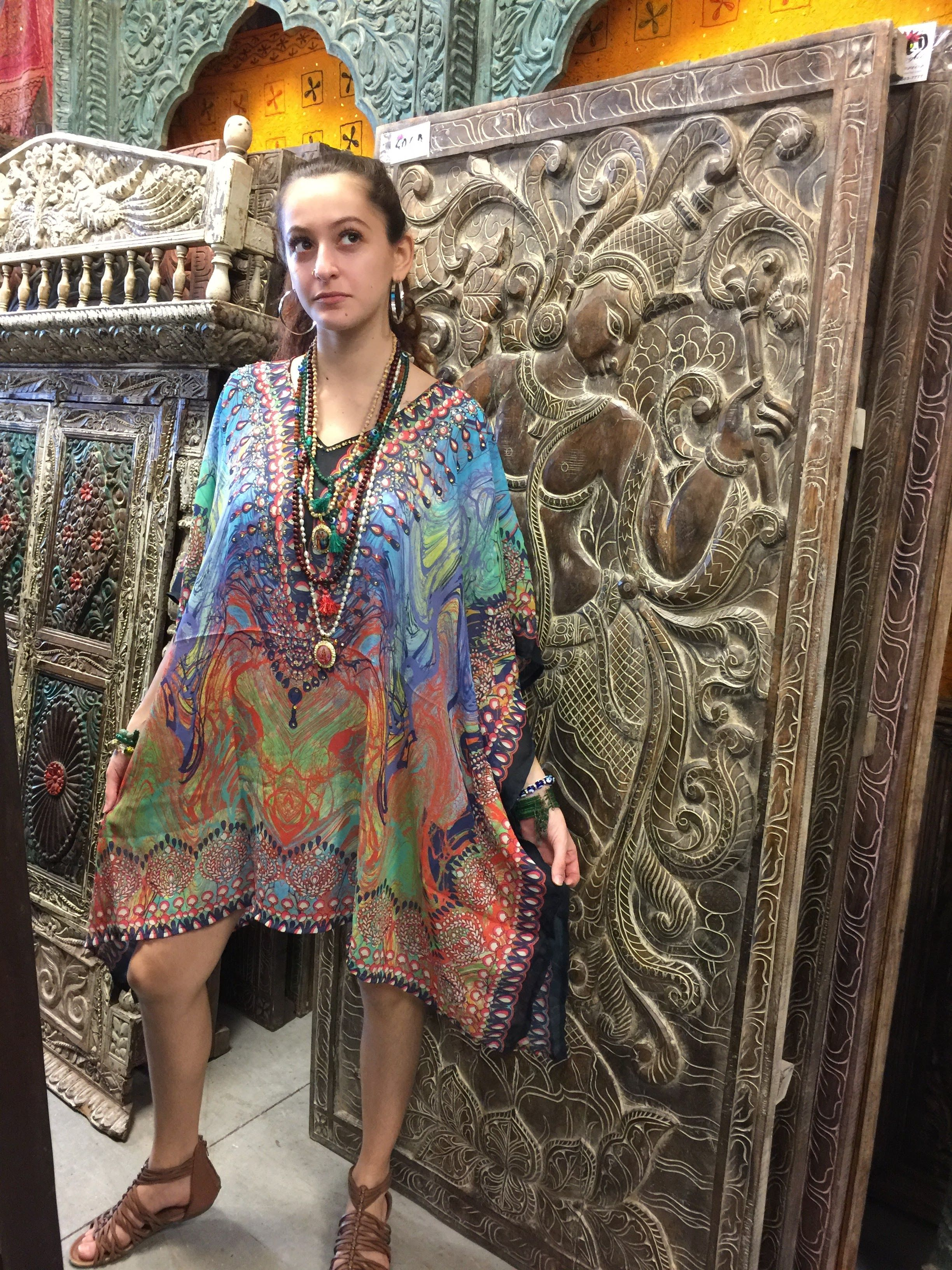 0ea8faf041 Mogul Womens Caftan Dress Lost In Dreams Jewel Print V-Neck Short Kaftan  Cover Up