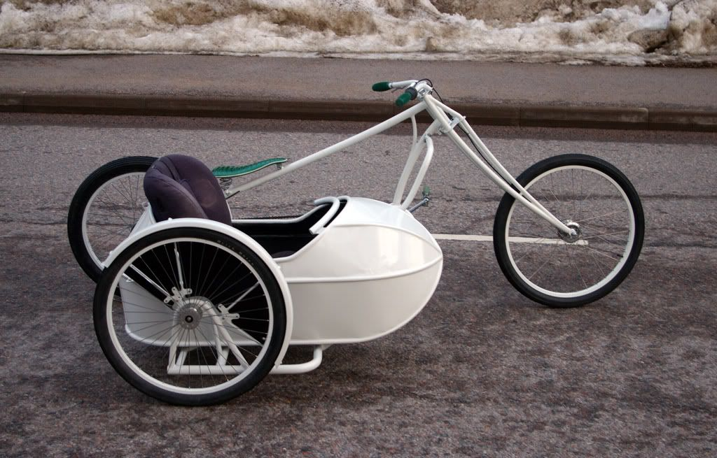 Chopper Bicycle Sidecar and Stretch Cruiser Bicycle with Sidecar