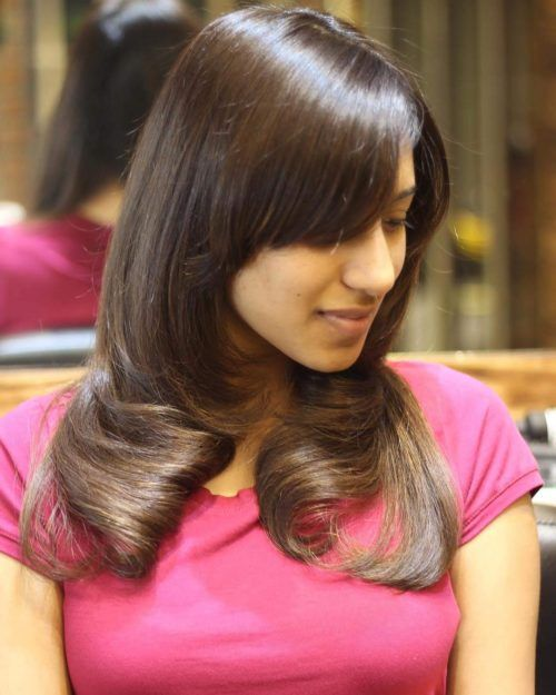 Mid Length Hairstyle With Bangs For Tamil Women South Indian