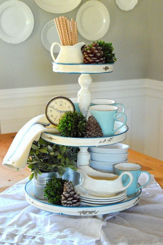 Distressed Antique White & Blue Three Tiered Tray | Tiered ...