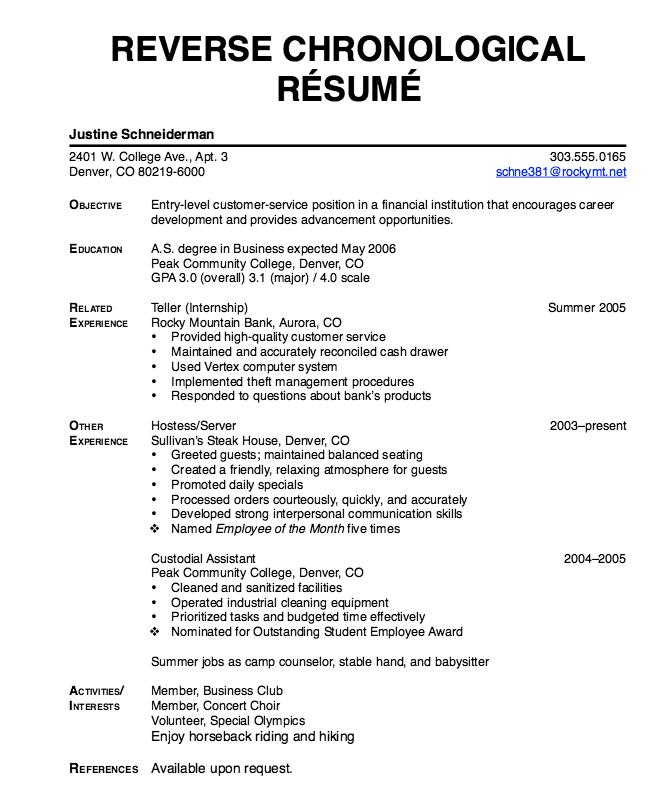 reverse chronological resume http exampleresumecv org reverse