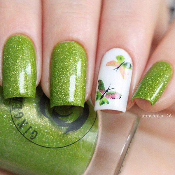 green butterfly nail art #springnailart | алба | Pinterest | Diseños ...