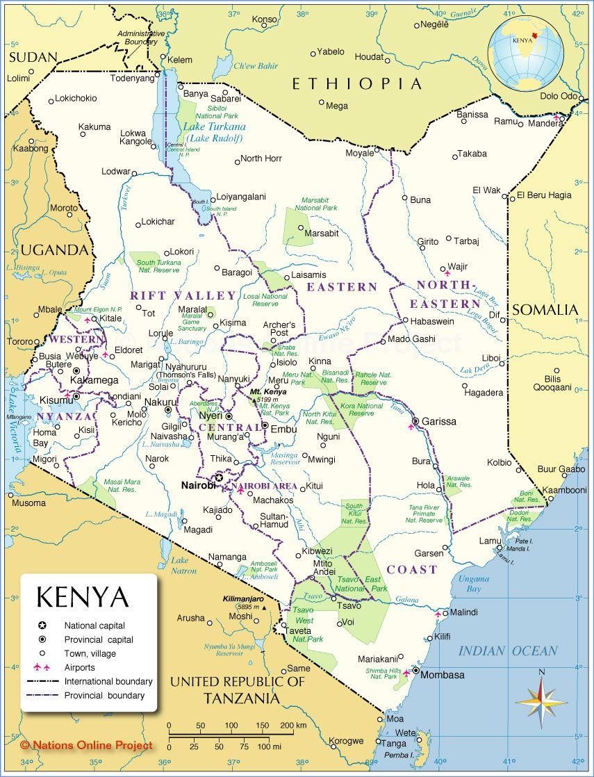 Administrative Map Of Kenya Kenya Map Kenya Travel