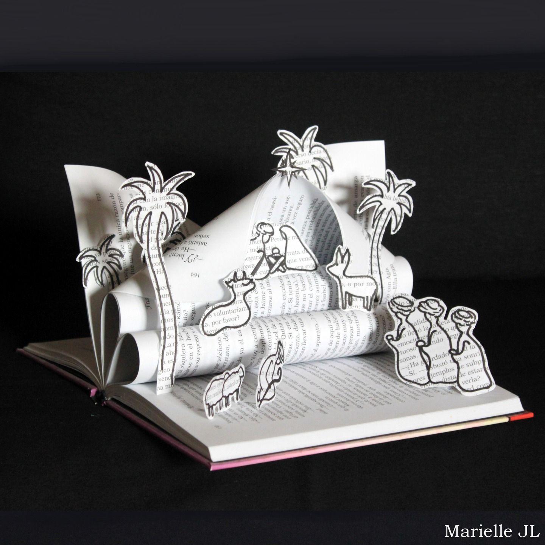 cr che r alis e avec un livre d coration de no l originale cadeau de no l noel creche. Black Bedroom Furniture Sets. Home Design Ideas