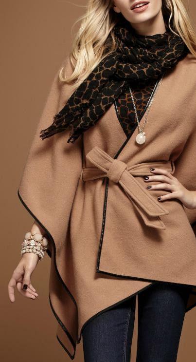 camel leather trim cape