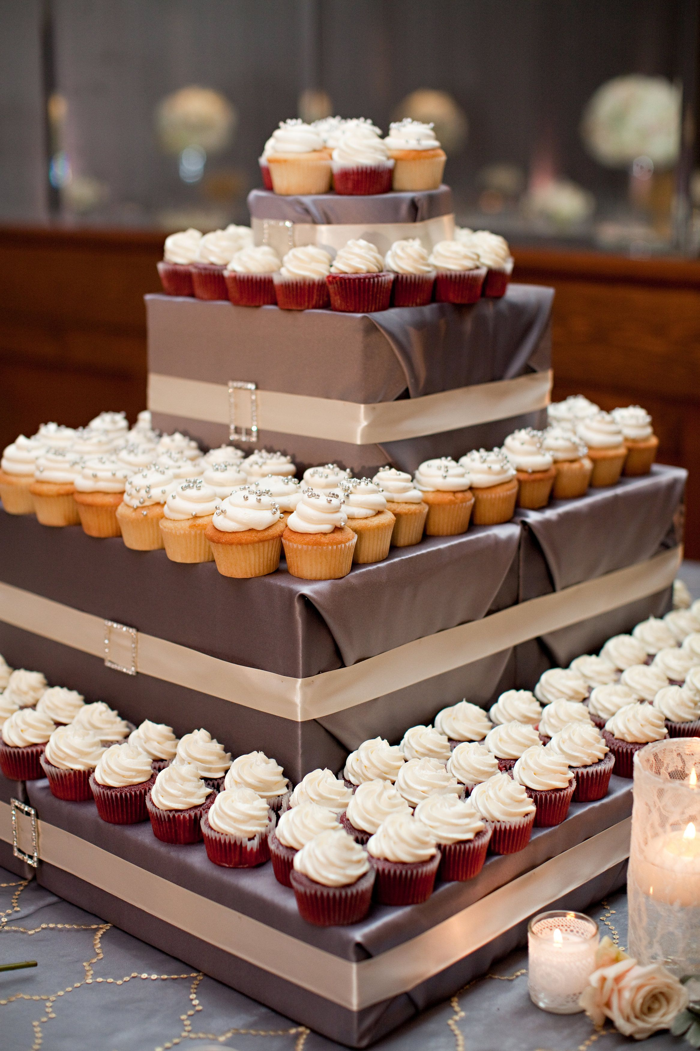 Diy Cupcake Tower With Red Velvet And Vanilla Mini Cupcakes