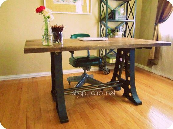 Vintage Industrial Dining Table or Desk. $1,950.00, via Etsy.