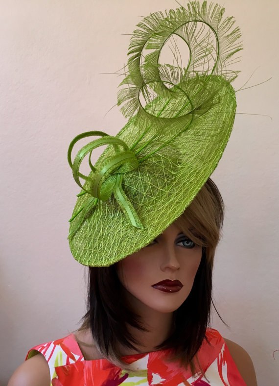 Kentucky Derby hat. Royal Ascot green fascinator. Fascinator for ... db2a4423dc5