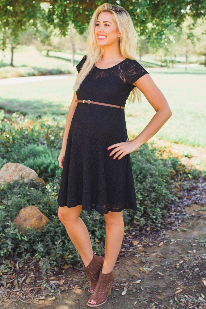 319d1760a3 Black Lace Belted Maternity Dress