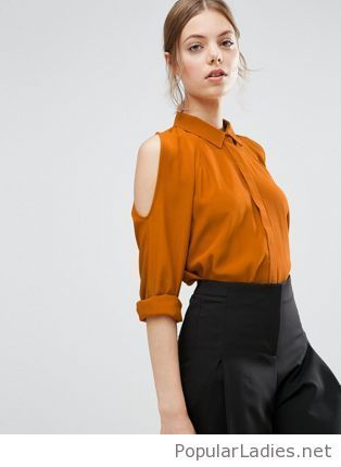 9980a84bc8563f black-pants-and-an-orange-shirt. ASOS Cold Shoulder Oversized Blouse with  Batwing Sleeve Yellow ...