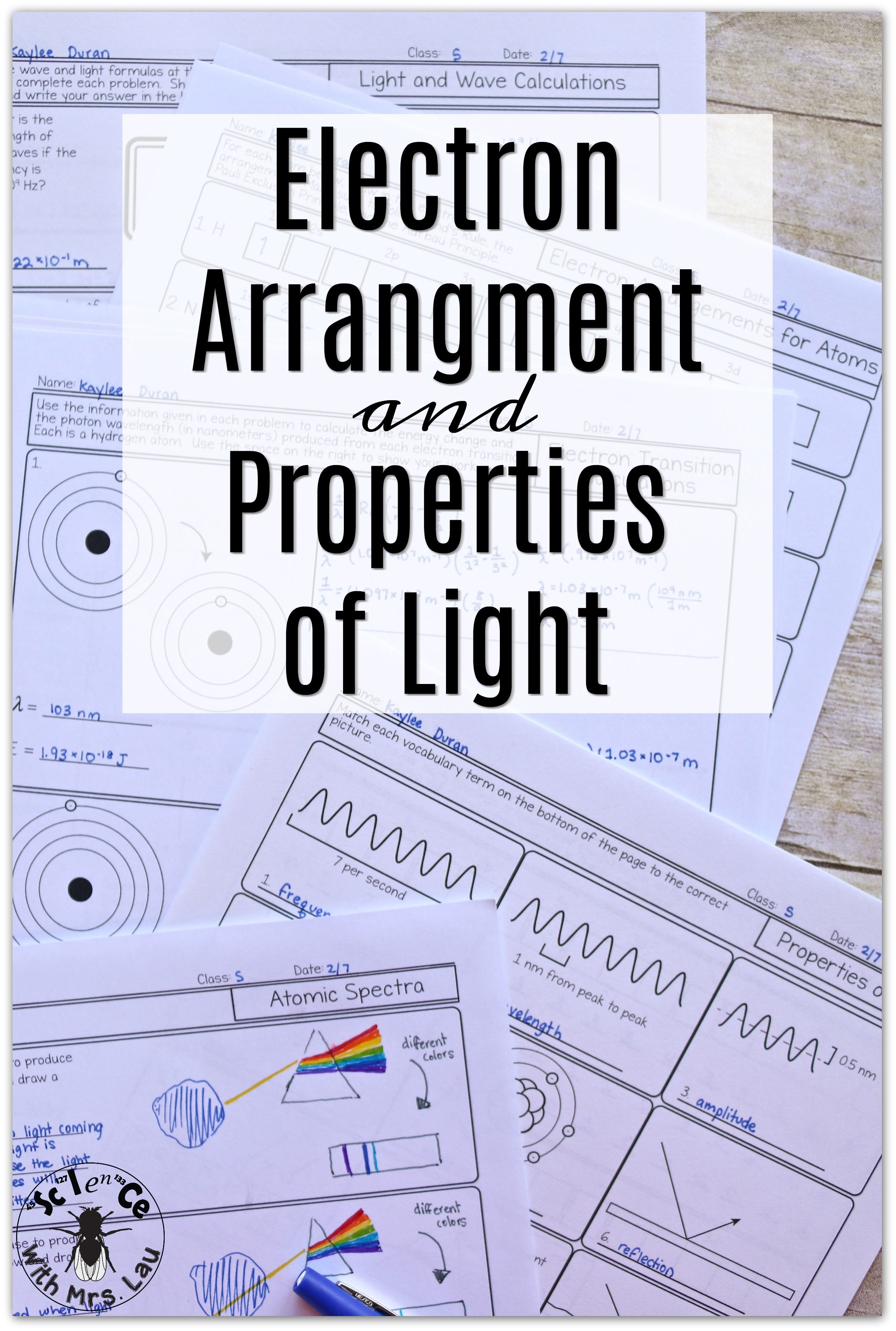 Electron Arrangements And Properties Of Light Chemistry