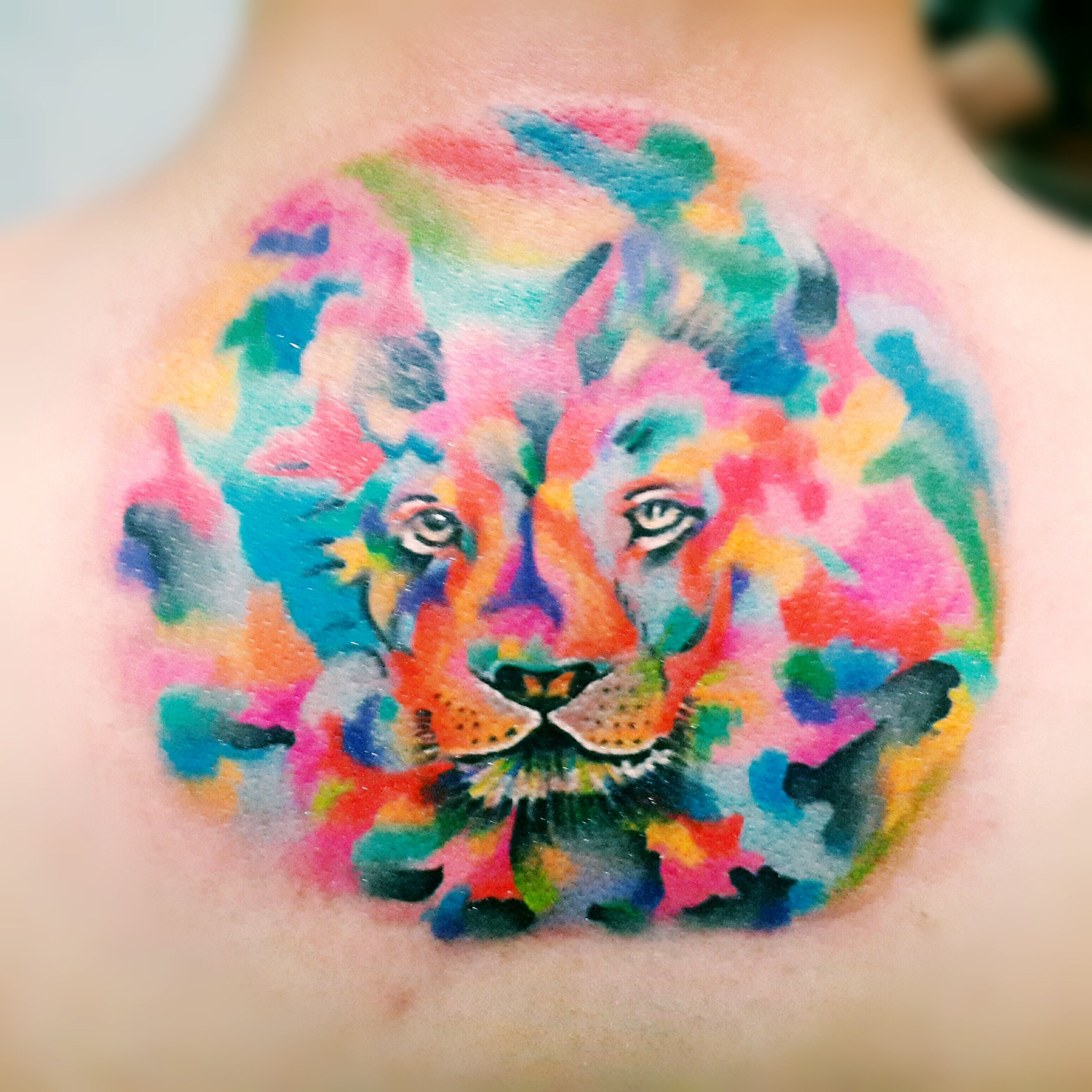 My trippy lion watercolor tattoo. Made by uyabtengab from