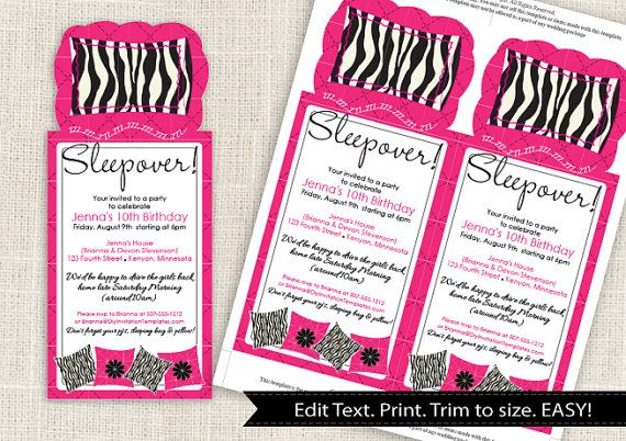 Zebra Sleepover Party Invitation Template DOWNLOAD Instantly – Microsoft Word Party Invitation Template