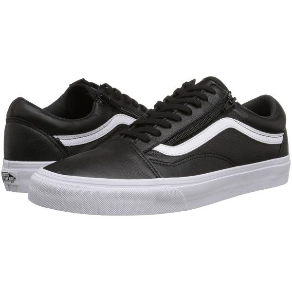 94145f0e196f Vans Old Skool Zip ((Premium Leather) Black) Skate Shoes ( 50) ❤ liked on  Polyvore featuring shoes