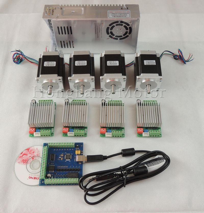 Mach3 Cnc Usb 4 Axis Kit 4pcs Tb6600 Driver Usb Stepper Motor Controller Card 100khz 4pcs Nema23 270oz In Motor Power Cnc Controller Diy Cnc Router Diy Cnc