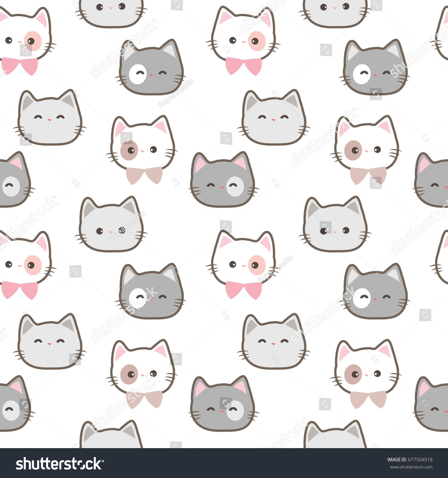 Seamless Pattern Of Cute Cartoon Cat Face On White Background