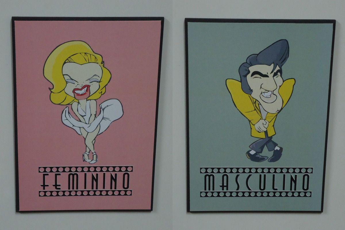 placa banheiro masculino e feminino (par) frete grátis  Placa de banheiro   -> Banheiro Feminino Banheiro Masculino