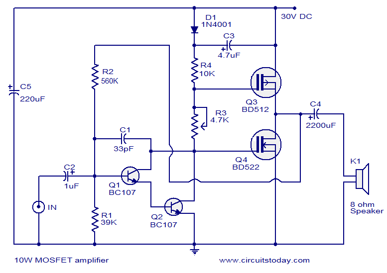 mosfet amplifier circuit 10 watts elektro pinterest circuits rh pinterest co uk 2000w mosfet amplifier circuit diagram mosfet amp circuit diagram