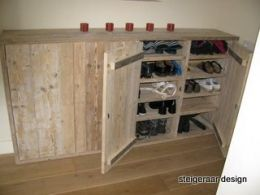 Spiksplinternieuw Steigerhouten schoenenkast | schoenenkast op maat gemaakt | de PD-41