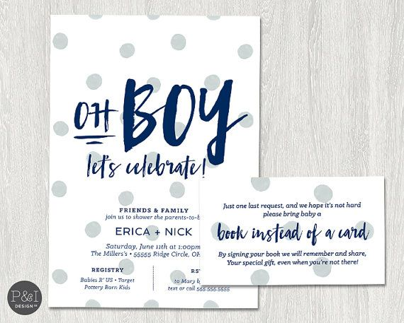 Oh Boy Baby Shower Invitation Couples Shower Coed Shower DIY