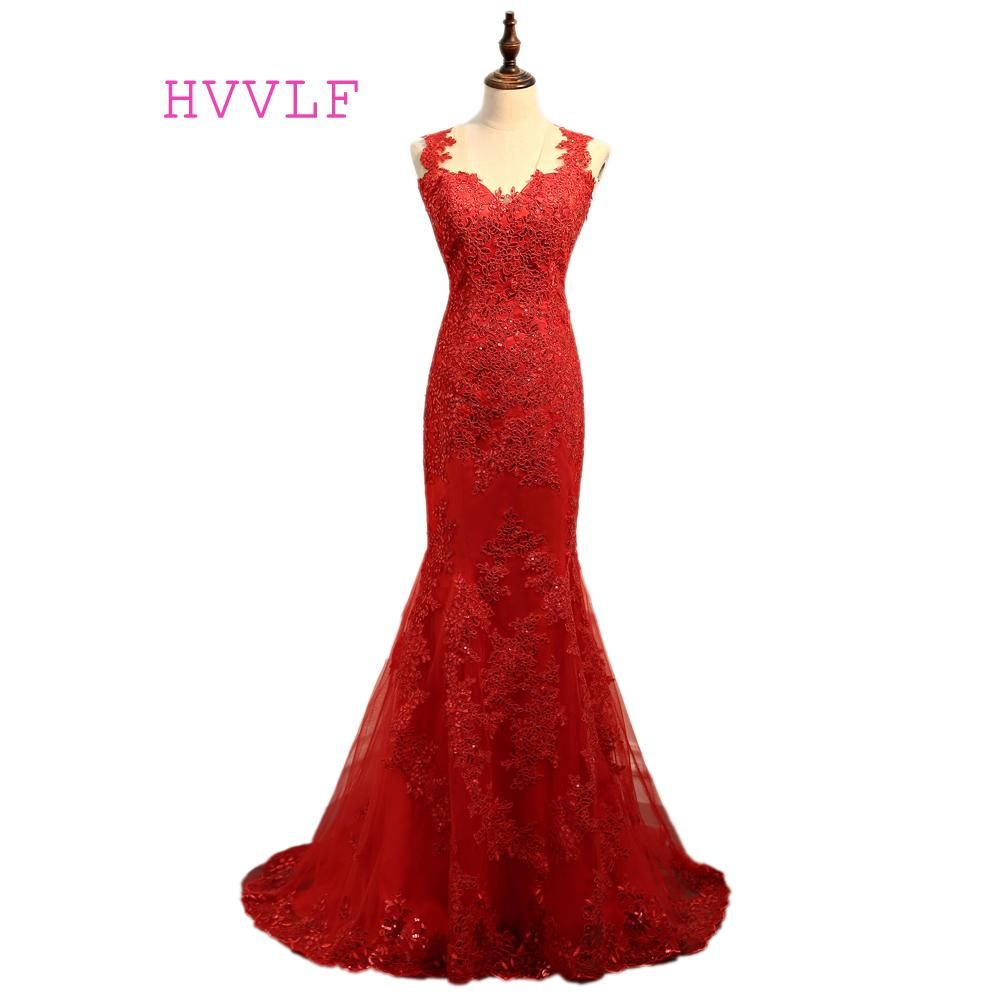 Red evening dresses mermaid see through lace appliques sequins