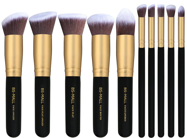 Amazon.com: BS-MALL(TM) Makeup Brushes Premium Makeup Brush Set Synthetic Kabuki Cosmetics Foundation Blending Blush Eyeliner Face Powder Brush Makeup Brush Kit (10pcs, Golden Black): Beauty