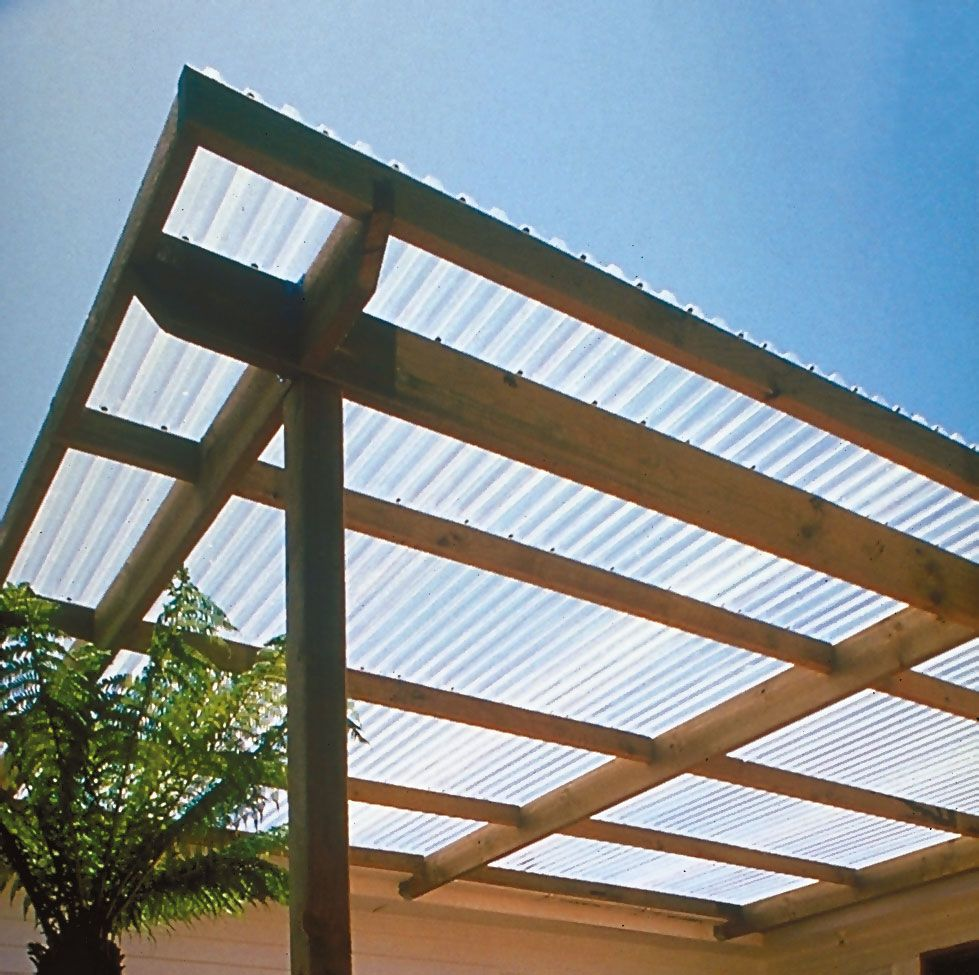 Patio Covering With Clear Pvc Corrugated Plastic Roofing Backyard Porch Roof Design