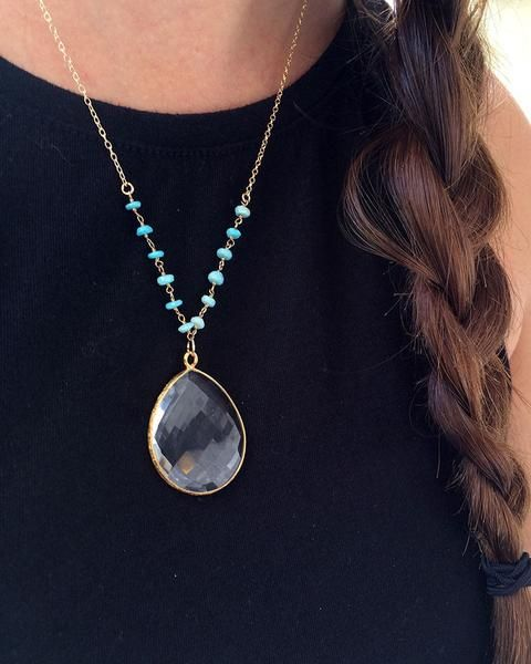 The Turquoise Chain and Gold Teardrop Necklace from Miami fashion jewelry designer Jaimie Nicole is a brand new must have. Designed and handmade in Miami th...