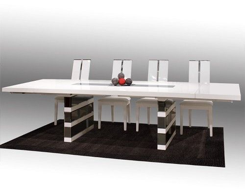 White Lacquer Conference Table With Gray Mirrored Legs