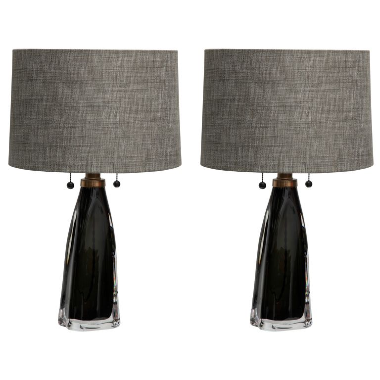 A Sexy Pair Of Carl Fagerlund Smoky Black Gray Olive Glass Table Lamps For