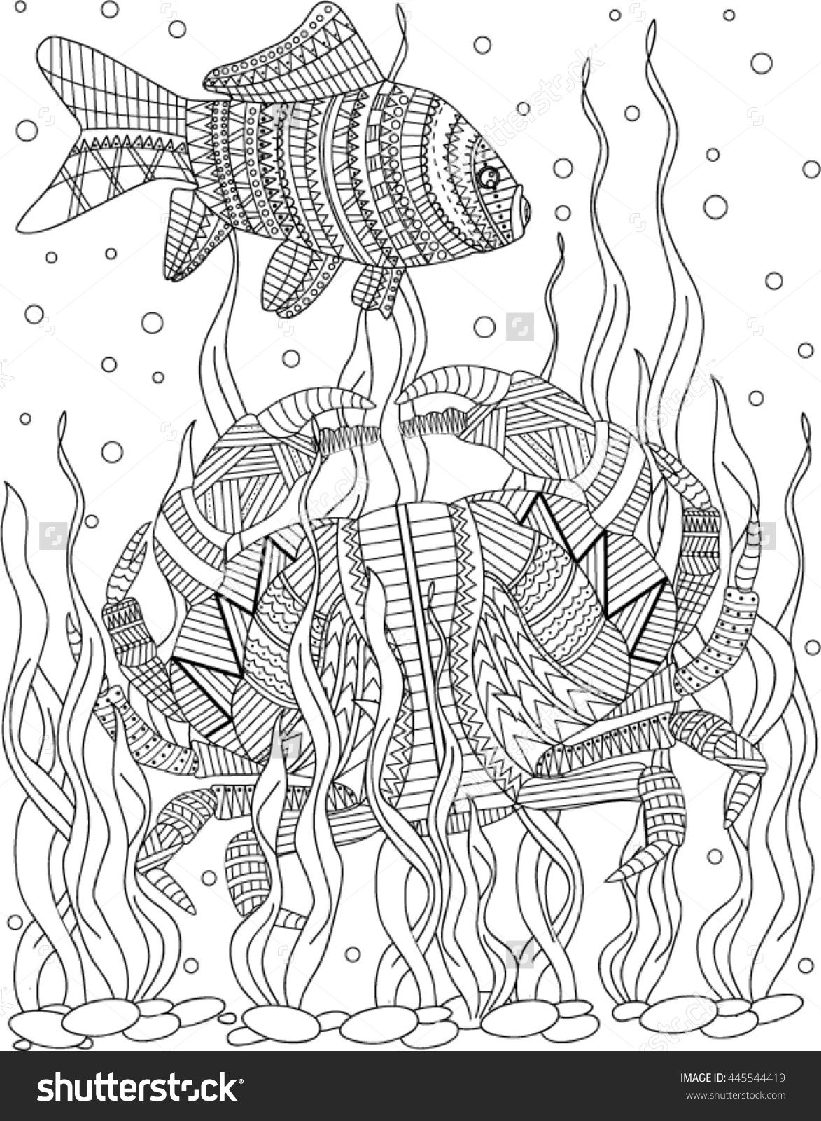crab zentangle coloring page | ✐♋Adult Colouring~Under the Sea ...